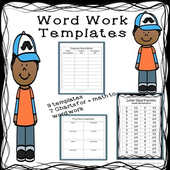 Word Work Templates by Teachable Resourceful Learners TpT
