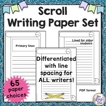 Scroll Border Writing Paper Set (65 pages) Lined  Unlined Writing