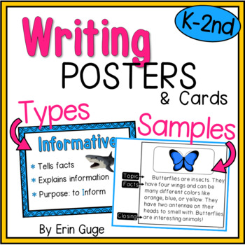 Writing Posters Types of Writing and Writing Samples by Erin Guge