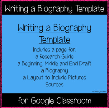 Writing a Biography Template (Great for Google Classroom!) by