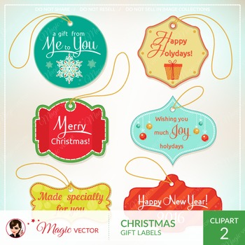 Xmas gift labels, tags, label frames, commercial use, vector graphics