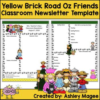 Yellow Brick Road Oz Friends Editable Classroom Newsletter Template