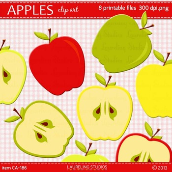 clip art apple in fall colors for back to school by DigiPopShop TpT