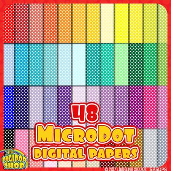 digital paper - printable mini polka dot paper in 48 colors by