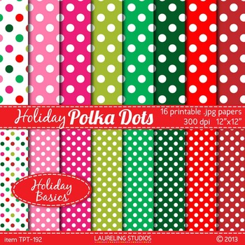 digital paper with polka dots in holiday red, green and pink jpg files