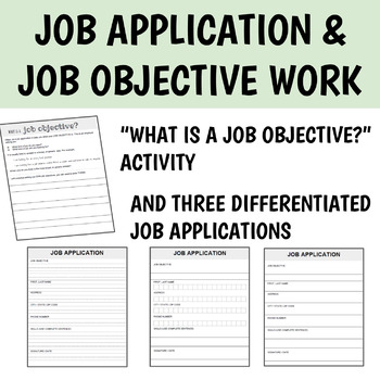 job application forms differentiated with job objective mini lesson!