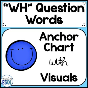 WH question words anchor chart with visuals by Everything ESOL TpT