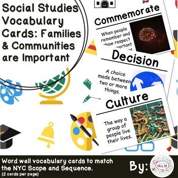 1st Grade Social Studies Vocab Cards Families  Communities are