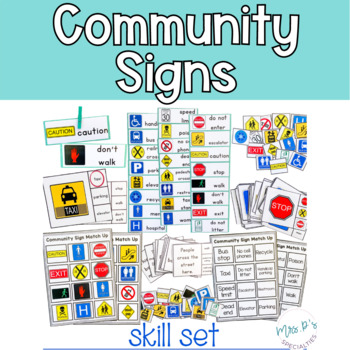 Community Signs Skill Pack Leveled for Special Education (Autism