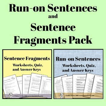 Run-on Sentences and Sentence Fragment Pack by Laura Torres TpT