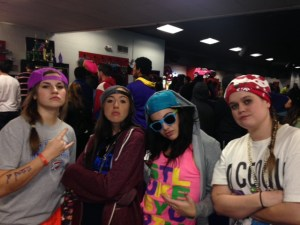 Students Dannah White, Mallory Redwine, Courtney Redwine and Victoria Bailey get their swag on at Roller Swag 2014.