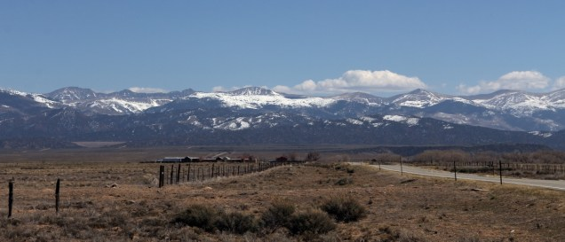 Southern Sangre de Cristos, from Highway 142, San Luis, CO.