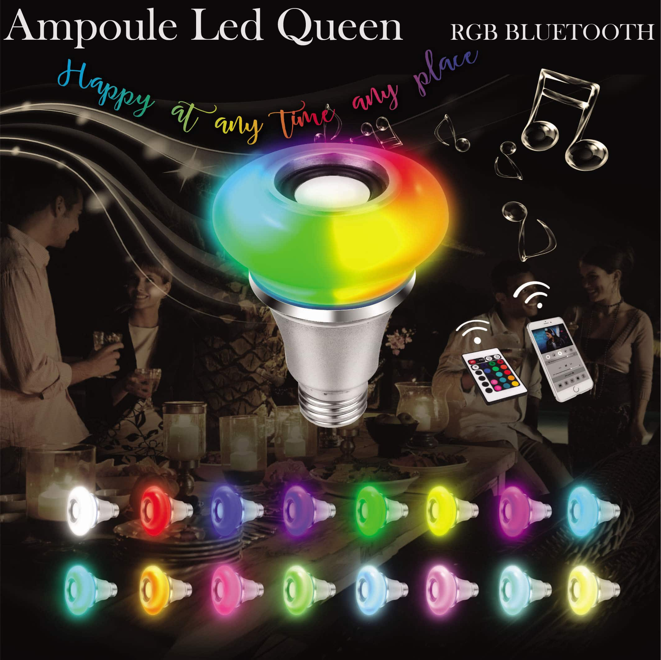 Ampoule Eclairage Ampoule Led E27 Queen Bluetooth Rgb
