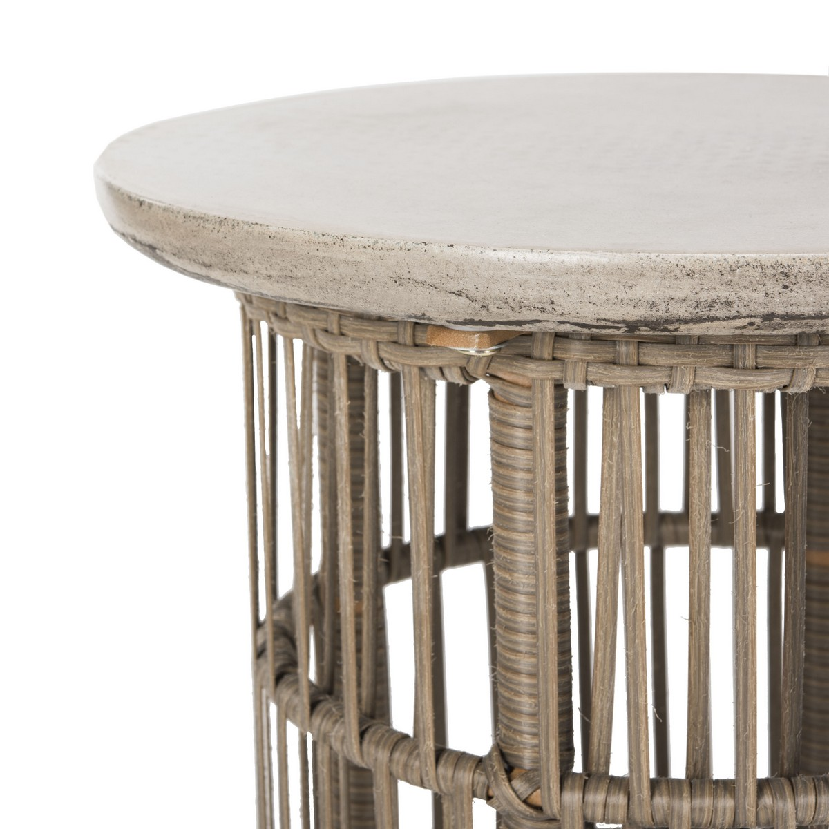 Rattan Table Concrete And Rattan Side Table
