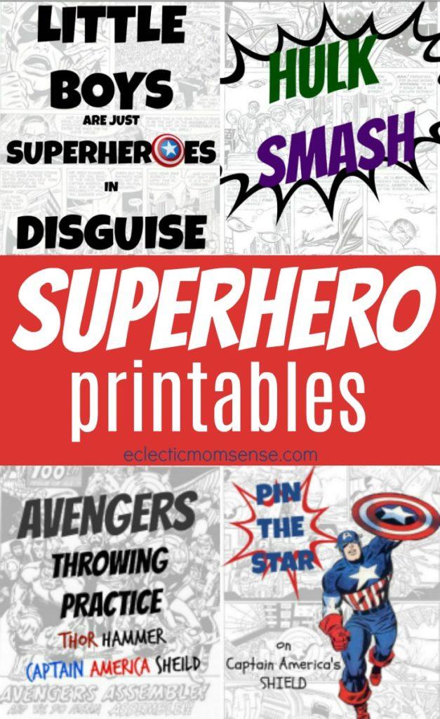 4 FREE Superhero Printables  Party Games - Eclectic Momsense