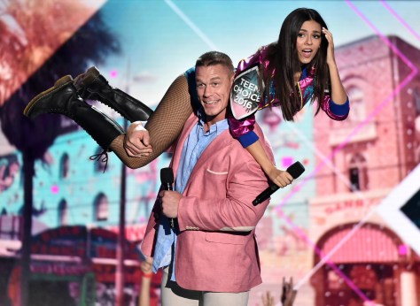 TEEN CHOICE 2016: Victoria Justice and John Cena onstage at TEEN CHOICE 2016 airing Sunday, July 31 (8:00-10:00 PM ET live/PT tape-delayed) on FOX at The Forum in Los Angeles, CA. ©2016 Fox Broadcasting Co. CR: Vince Bucci/FOX