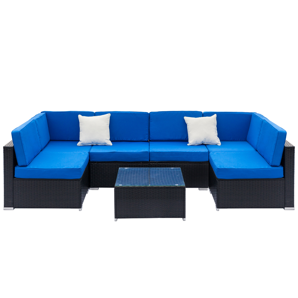 Sofa Rattan Details About 7pc Rattan Wicker Sofa Set Sectional Couch Cushioned Furniture Set Backyard New