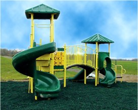 recycled rubber mulch on playground