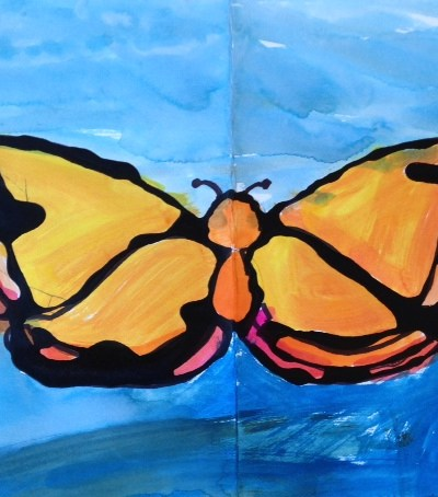 Homeschool and Elementary Spring Art Lesson:  Watercolor and Black Glue Symmetry Butterflies