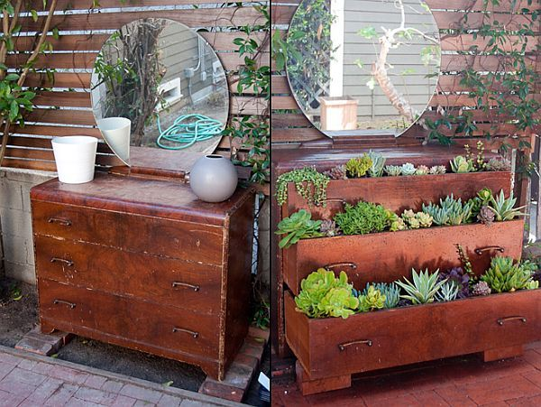Old dresser turned into a lovely and fresh garden