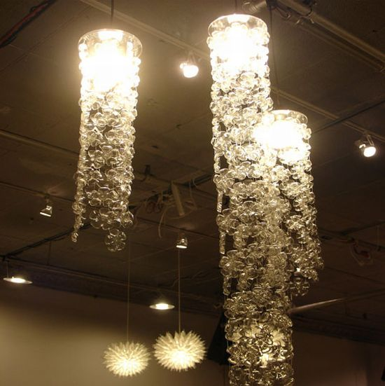 recycled bottle cascade chandelier 2