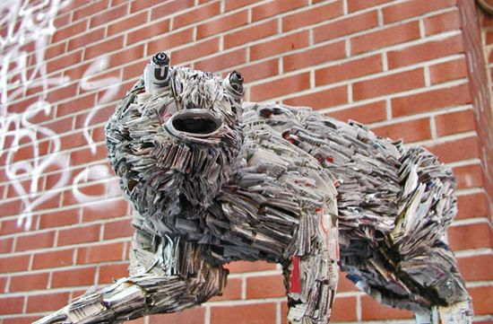 recycled newspaper sculptures by nick georgiou 6