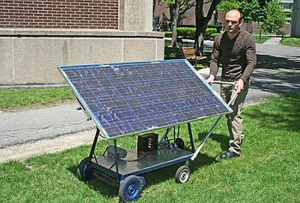 solar-powered push mower.
