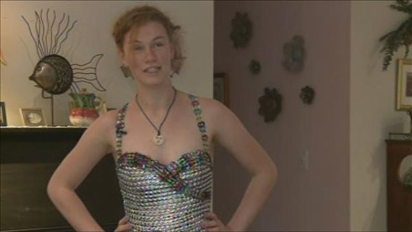 Student makes prom dress from soda tabs