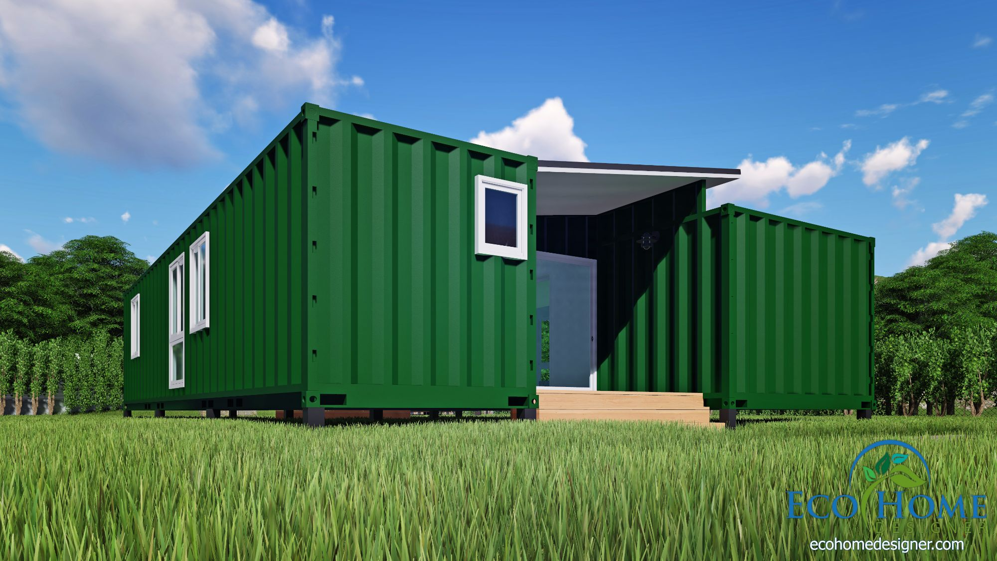 Container Haus Plan Sch15 2 X 40ft Container Home Plan With Breezeway Eco