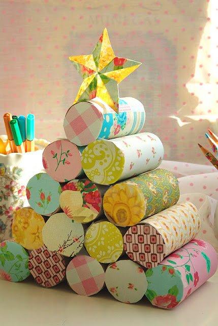 Como hacer un rbol de navidad con rollos de papel - Arbol de navidad con papel ...