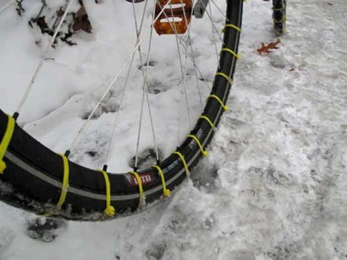 neumáticos de nieve para bicicletas con abrazaderas