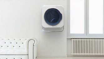 Mini-lavadora de pared que aprovecha su calor para secar la ropa