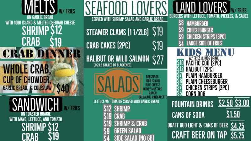 Restaurant Menu Ecola Seafood