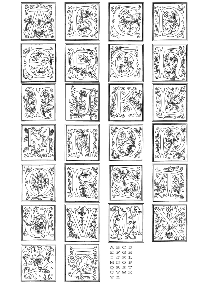 Learning ABC\u0027s with Fancy Letters of the Alphabet Coloring Page for