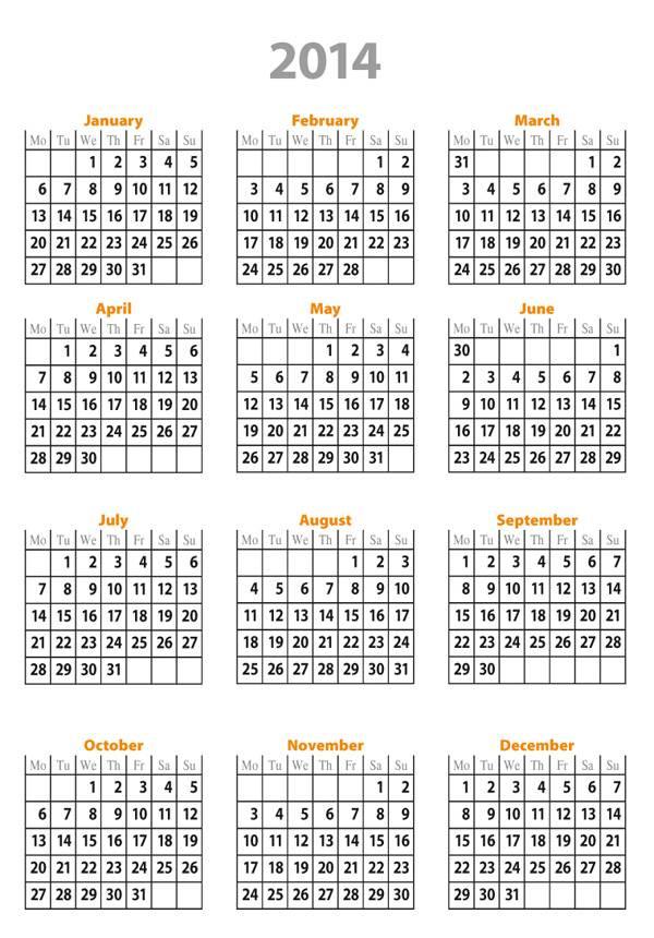 Free Printable Calendar 2014 Full Year- Calendario 2014 Año Entero