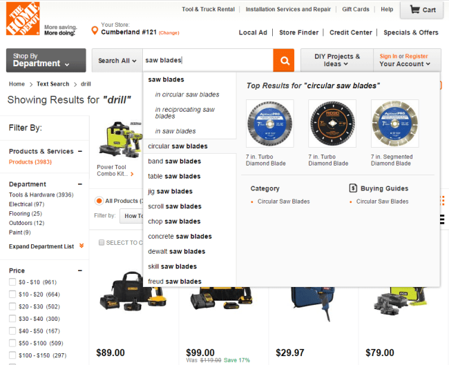 HomeDepot.com search type ahead2