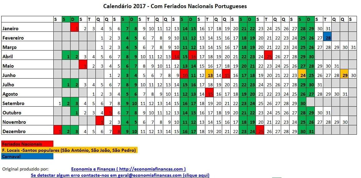 Feriados em 2017 (Portugal) - Economia e Finanças