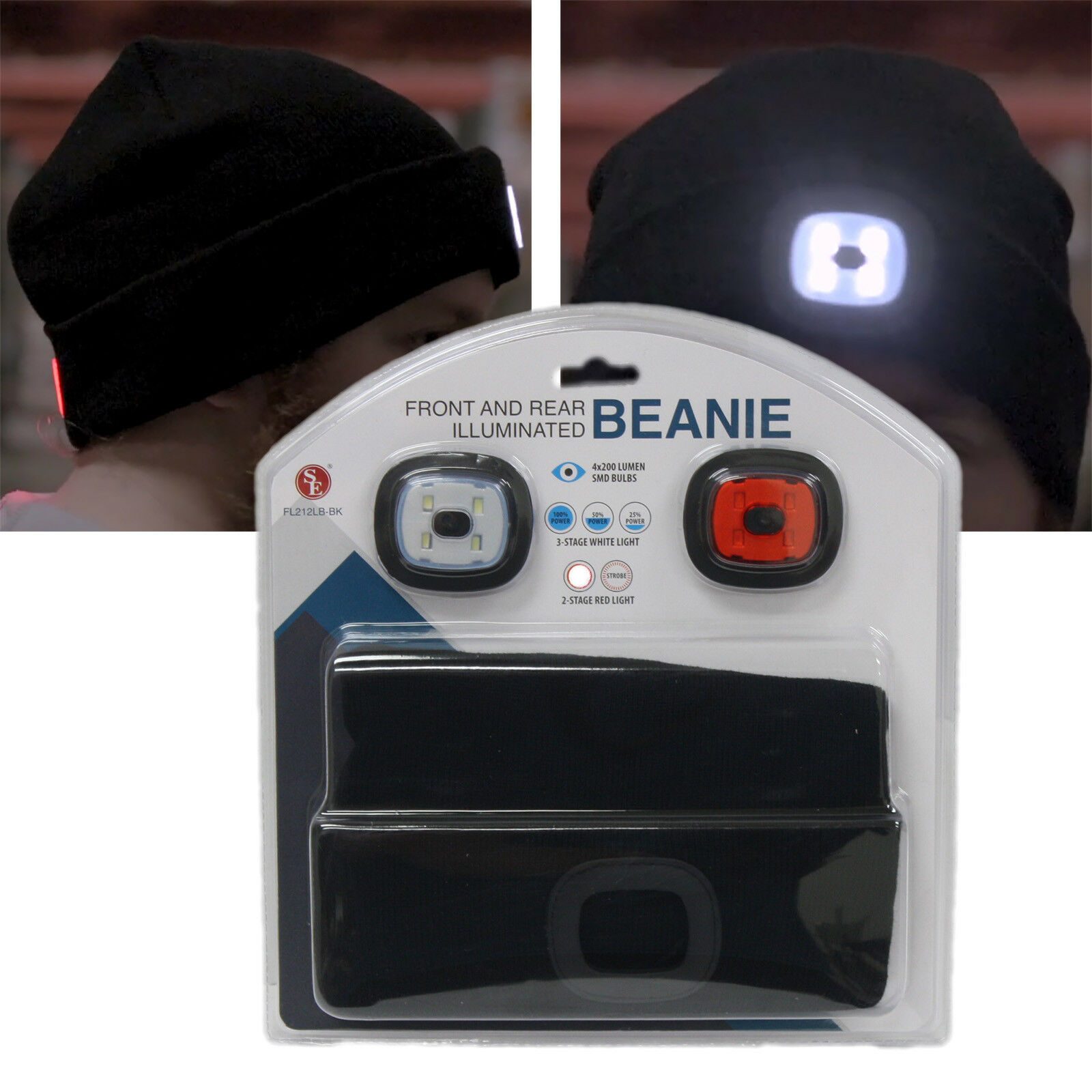 200 Lumen Front Rear Illuminated Beanie Flashlight White Red 4x200 Lumen Led Hat Cap Blk