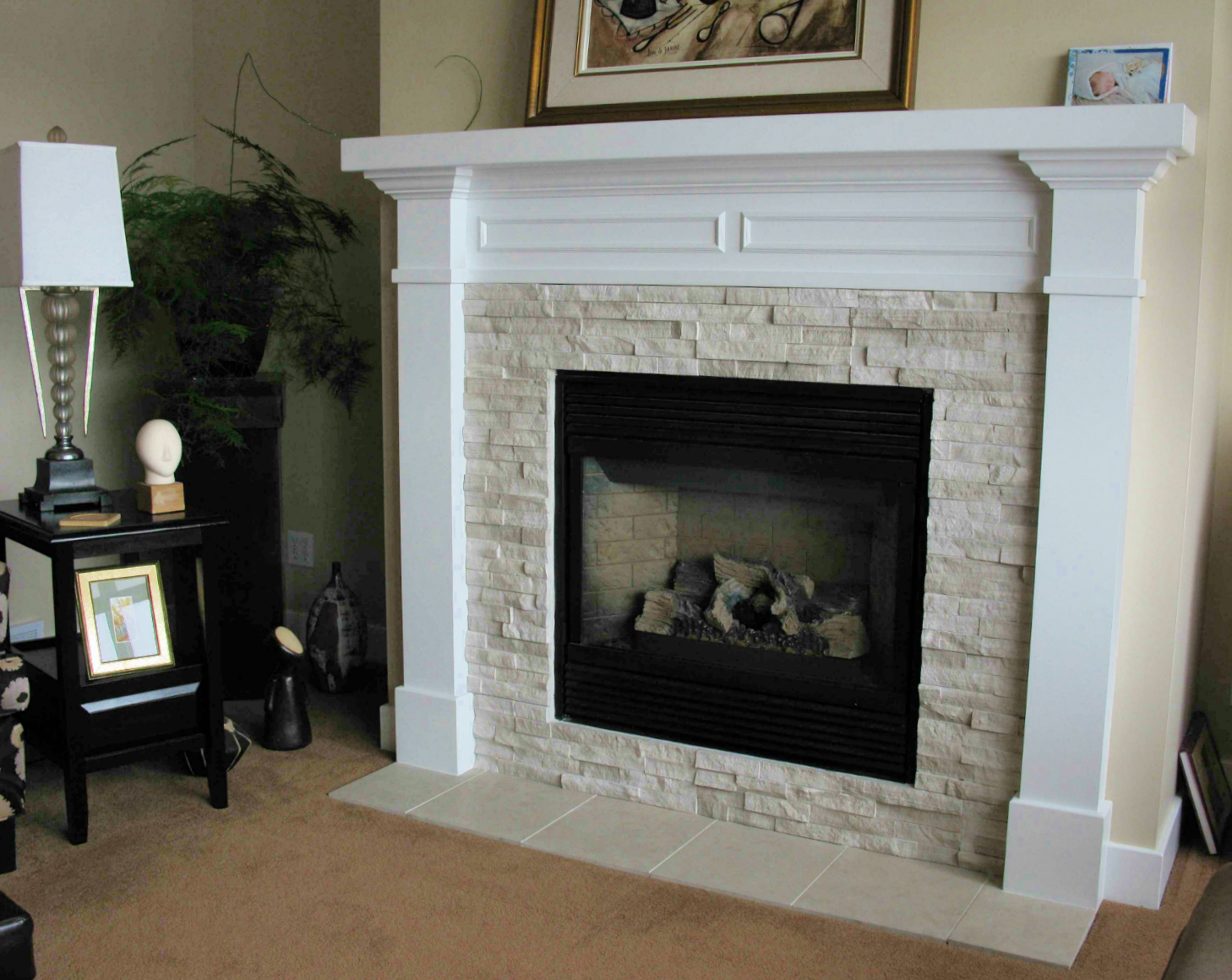 Fireplace With Wooden Mantle Ecostone Products