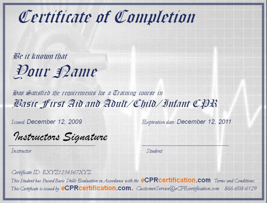 Online CPR \ First Aid Certification - Certificate Sample - certificate sample