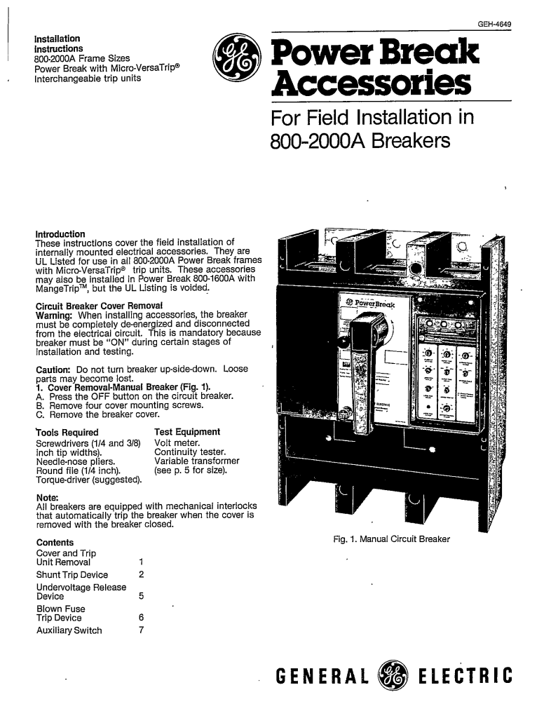 installation of circuit breaker