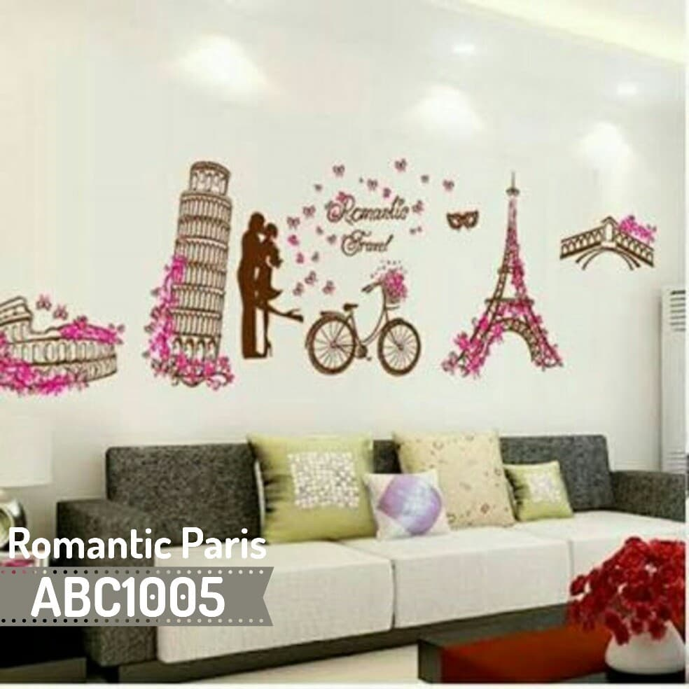 Wallpaper Kamar Paris Jual Wallsticker Romantic Paris Dinding Kamar Dekorasi Rumah 60cm