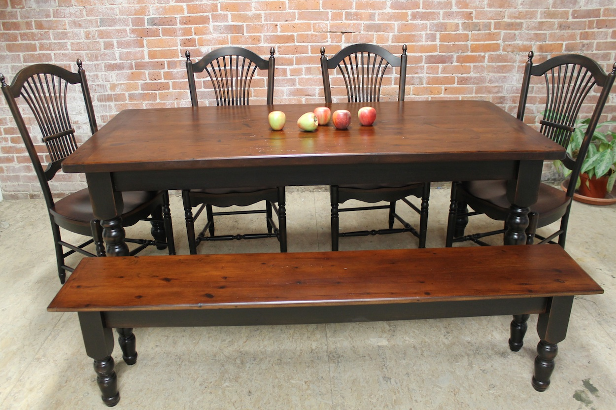 Black Farmhouse Table With Bench Rustic Farm Table Ecustomfinishes