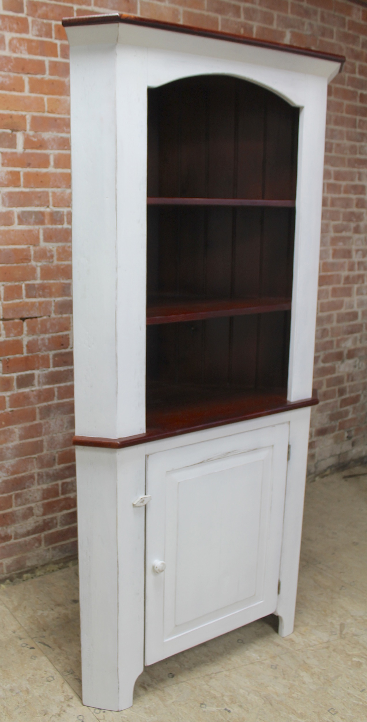 Farmhouse Living Room Open Top Corner Cabinet - Ecustomfinishes