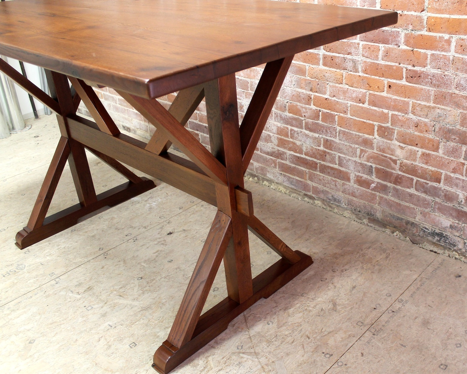 Kitchen Island Drop Leaf 42 Bar Height Oak Trestle Table - Ecustomfinishes