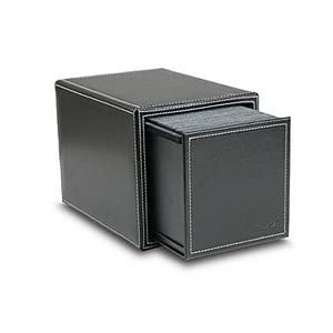 Faux Leather Cd Dvd Filing Storage Box Black Holds 100