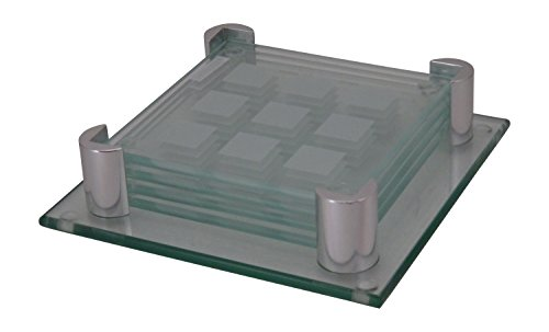 Square Clear Glass Coaster Set With Holder Home Garden