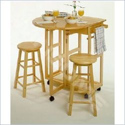 Image of Winsome Basics Mobile Breakfast Bar,Table Set with 2 Stools in Natural (B004GIGSGC)