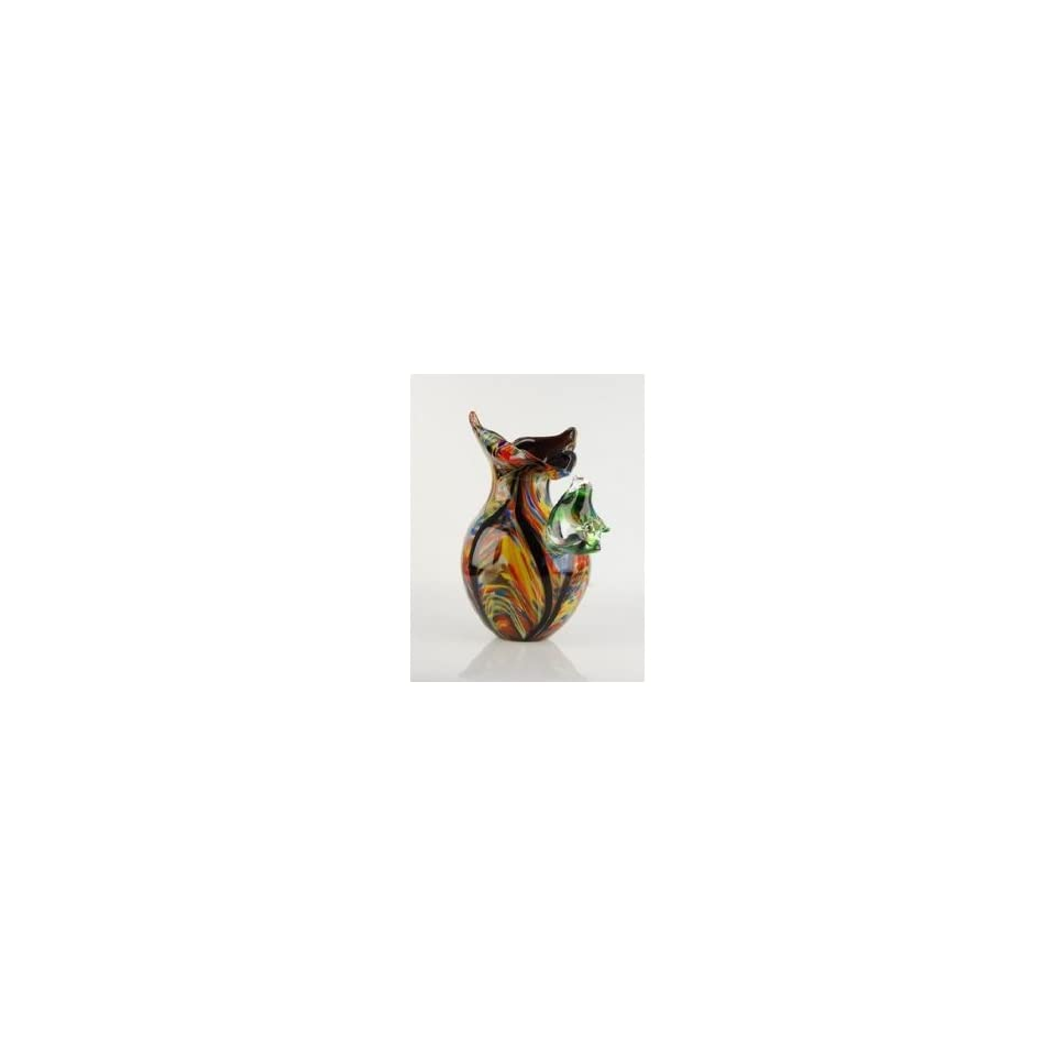 Arte Murano Icet Bird Murano Glass Colorful Vase With Bird Lovely 100 Hand Blown Art