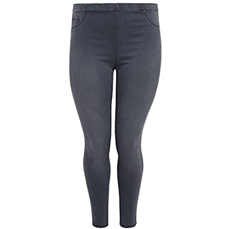 Plus size grey denim jegging with elasticated waistband and fading to the leg. With functional pockets to the back and imitation pockets to the front. With 2% elastane for stretch across the legs, these jeggings look like jeans but are are comfortabl...